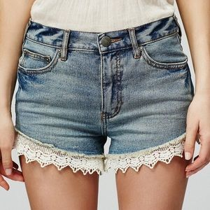Free People High Waisted Crochet Lace Hem Shorts